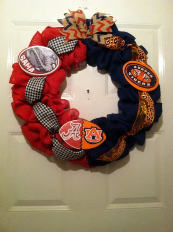 House Divided Bama/Auburn Collegiate Burlap Wreath, Roll Tide/War Eagle Wreath,Collegiate Wreaths,House Divided Wreath,Bama Wreath