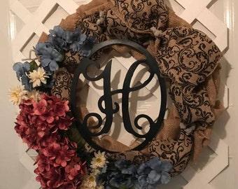 Gift For Her - Monogram Wreath - Everyday Burlap Wreath - Front Door Wreath - Housewarming Gift - Everyday Wreath - Wedding Shower Gift -