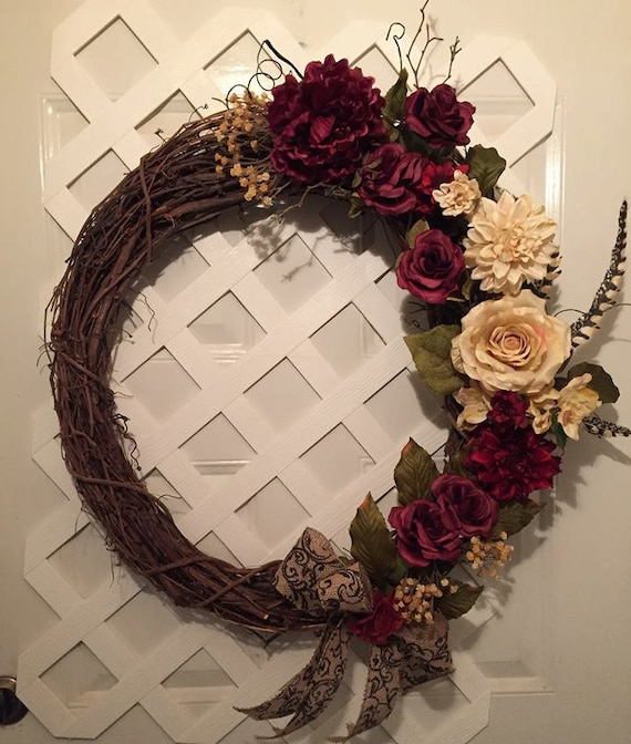 Front Door Wreath - Tuscany Wreath - Summer Wreath - Everyday Wreath - Rustic Wedding - Grapevine Wreath - Front Door Wreath - Rustic