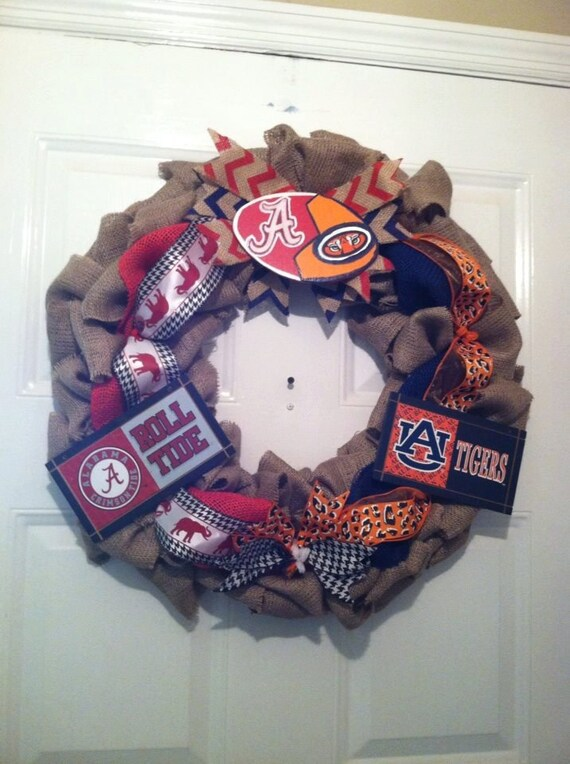 Alabama/Auburn Collegiate Burlap Wreath, Roll Tide/War Eagle Wreath,Collegiate Wreaths, House Divided Wreath, War Eagle Wreath, Bama Wreath