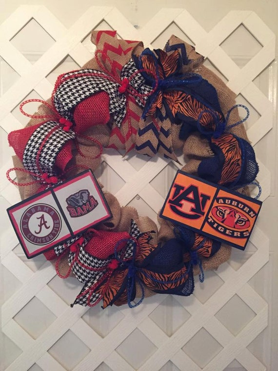 Bama/Auburn Collegiate Wreath - Roll Tide/War Eagle Wreath - Collegiate Wreaths - House Divided Wreath - Roll Tide & War Eagle House Divided