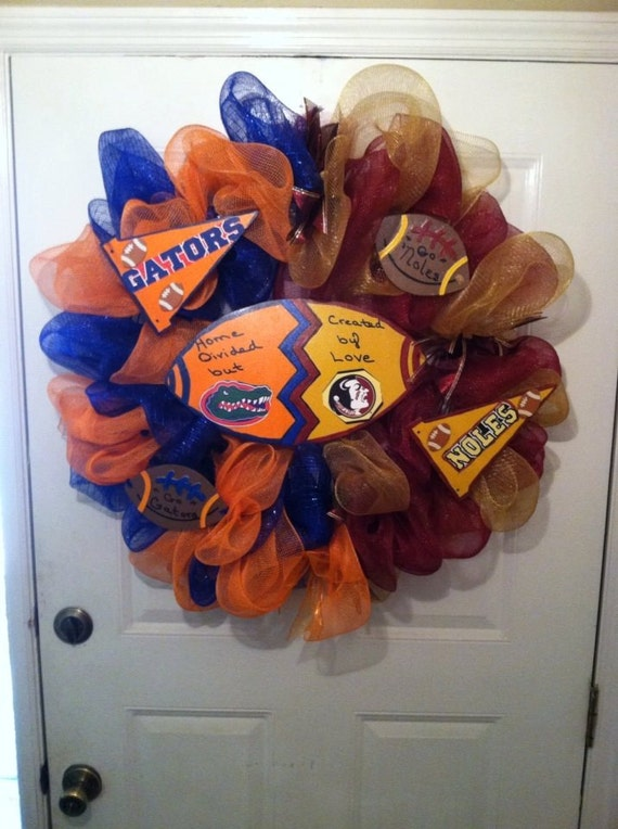 Florida Gators/ FSU Seminoles House Divided Deco Mesh Wreath,House Divided Wreath,Gator/Noles Wreath,Gator Deco Mesh Wreath, Noles Wreaths,