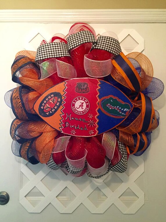 House Divided Wreath - Collegiate House Divided Wreath - House Divided Three Way Wreath - Roll Tide/Gators/War Eagle Wreath - UA/AU/FL Decor