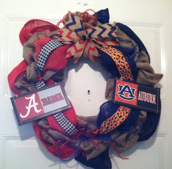 Alabama Crimson Tide - Auburn Tigers - House Divided - Roll Tide - War Eagles - SEC - Nick Saban- House Divided Wreath - Front Door Decor