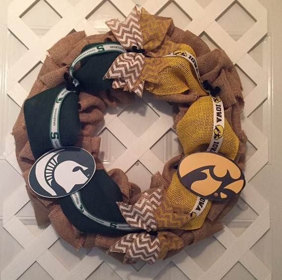 House Divided Wreath -  Iowa Hawkeyes and  Michigan State Spartans Wreath - Iowa Hawkeyes - Michigan State Spartans - College Football