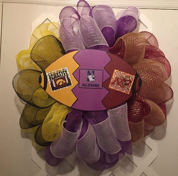 House Divided Wreath - Football - Big 10 - Iowa Hawkeyes - Northwestern Wildcats - Minnesota Gophers - College Football -  UIOWA - NU - UMN