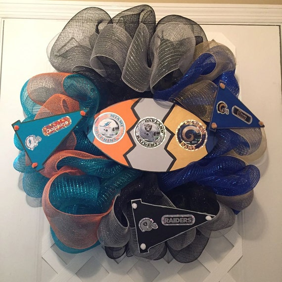 NFL House Divided Wreath - House Divided Three Ways - Miami Dolphins - St. Louis Rams - Oakland Raiders - NFL - Professional Football
