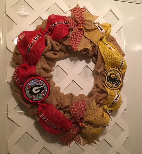Georgia Bull Dawgs - Iowa Hawkeyes - House Divided Wreath - College Football - Bull Dawgs - Hawkeyes - Big 10 - Door Wreath - Wreath - SEC