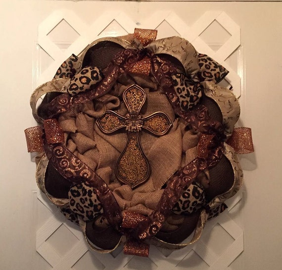Leopard Burlap Wreath - Cross Wreath - Everyday Wreath - Easter Wreath - Wedding Wreath -  Burlap Wreath - Cross Wreath - Leopard Wreath