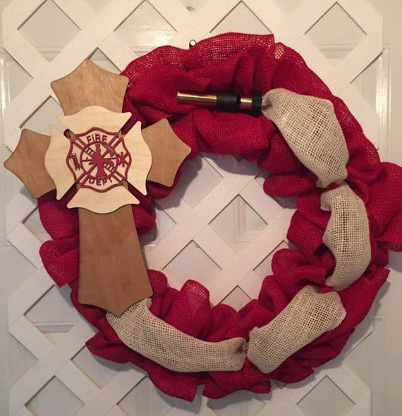 Firefighter Gifts - Firemen Gifts - Firemen Burlap Wreath - Firehouse Gifts - Firehouse Decor - Firemen Decor - Heroes Wreath - Door Decor