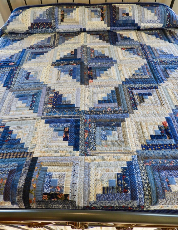 Quilts for Sale Quilts for Gifts Lap Quilts Mothers Day Quilt Log Cabin BluesIvory Quilt Handmade Quilts