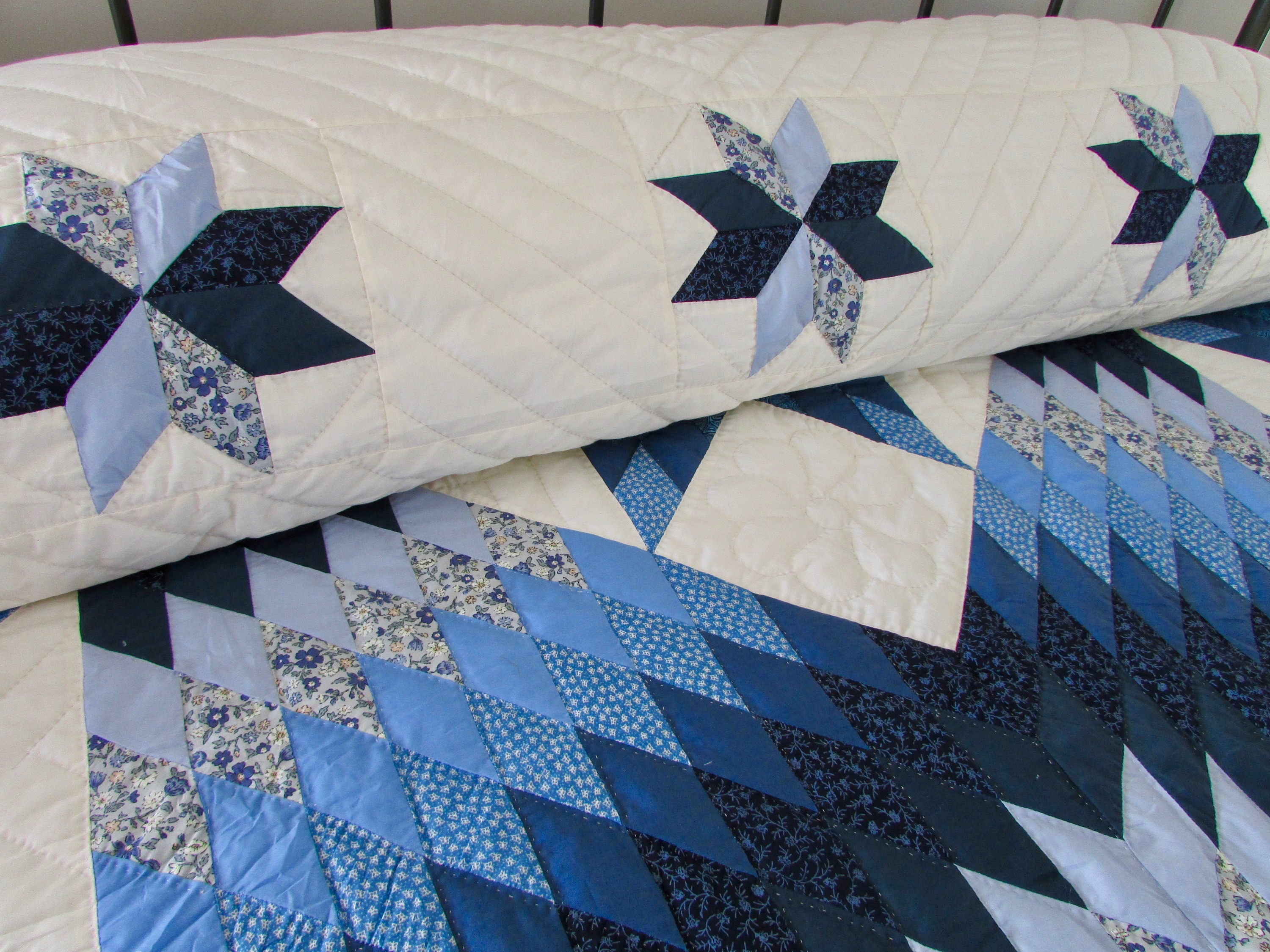 Star in Stars Quilt, Patchwork Quilt, Amish Quilt, Star Quilt, King Quilt, Blue Quilt, Country Quilt, Hand Made Quilt, Quilted Bedspread