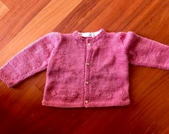 Hand knitted wool cardigan/jacket