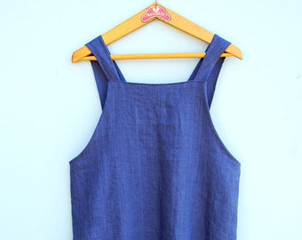 Linen apron Japanese apron Aprons for women Pinafore apron Apron dress Gift for her Housewarming gift Cross back apron Gift for Mom ZUT