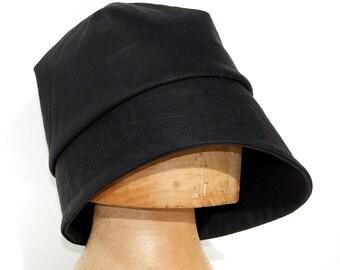 Handmade rain hat| black cotton cloche hat|womens fashion hat| French hat| Black bucket hat|ZUTamelie designer hat in rainproof waxed cotton