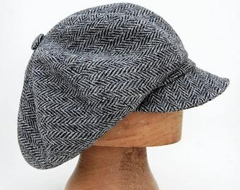 0dfa37389c61a Peaky blinders cap Harris tweed cap Womens captains cap Harris tweed mens  cap Mens Scottish beret Tweed baker boy cap Mens peaked cap