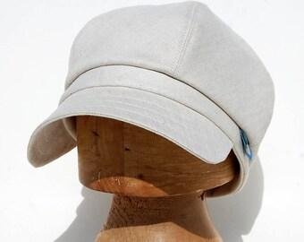 Cream Newsboy Cap|Linen Newsboy Cap| Linen Sun Hat|Linen Sun Cap|French Newsboy Cap|Linen designer cap| ZUTjean handmade cap in French linen