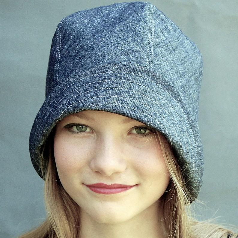 aaaf24ad34481 Asymmetrical indigo linen hat linen cloche hat summer hat