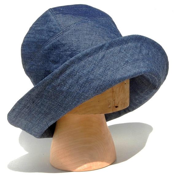 Indigo linen sun hat Handmade indigo linen cloche hat Bucket  490d1d76dc8