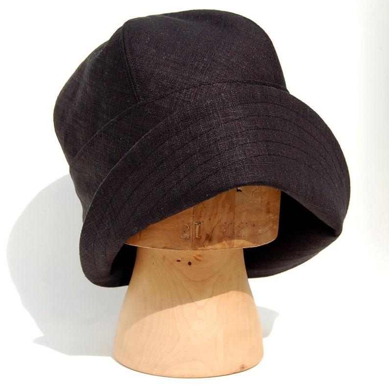 7e761513 Handmade black linen cloche hat Womens sun hat 1920s | Etsy