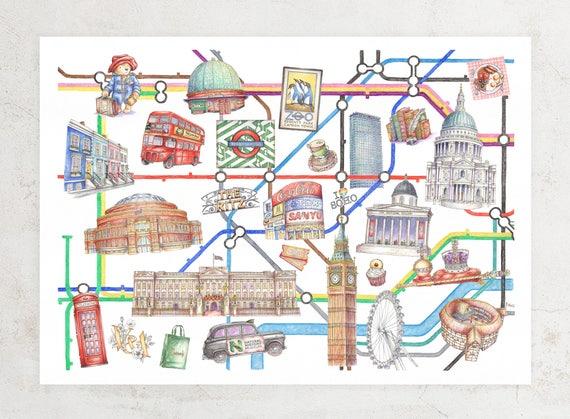 Undeground Map Of London.Illustrated London Underground Map Art Print Etsy