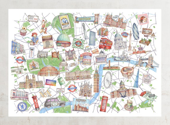 Central London Map To Print.Illustrated Central London Map Art Print