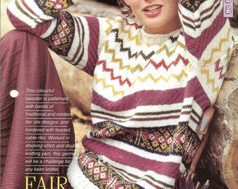 """Knitting pattern - Woman's top """"Fair Isle Fantasy"""" pullover sweater jumper - Instant download"""