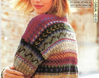 """Knitting pattern - Woman's top """"Fair Isle Favourite"""" pullover sweater jumper - Instant download"""