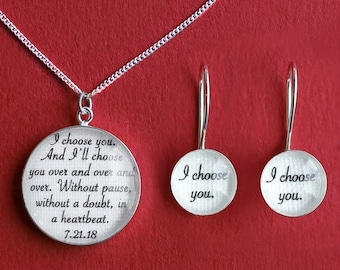 Cotton Anniversary Gift for Her / Jewelry with your Wedding Vows or Lyrics on COTTON / 2nd Anniversary Gift for Wife / Woman