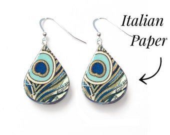 Peacock Paper Earrings - Perfect First Anniversary Gift for Her- 1st anniversary paper idea
