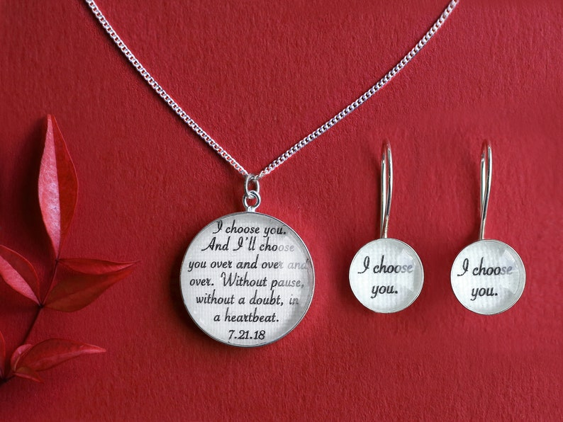 Cotton Anniversary Gift for Her / Jewelry with your Wedding Earrings + Necklace