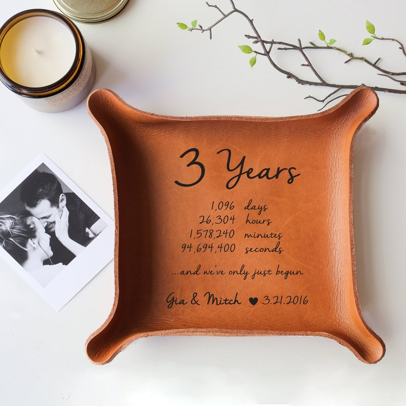 6380c8e8efef Leather Tray with Your Vows or Song   Leather Anniversary Gift
