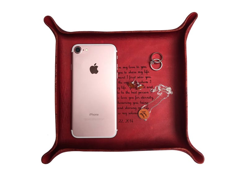 0777cd624e8a Leather Tray with Your Vows or Song   Valentine s Day Gift for Him   Gift  for Husband ...