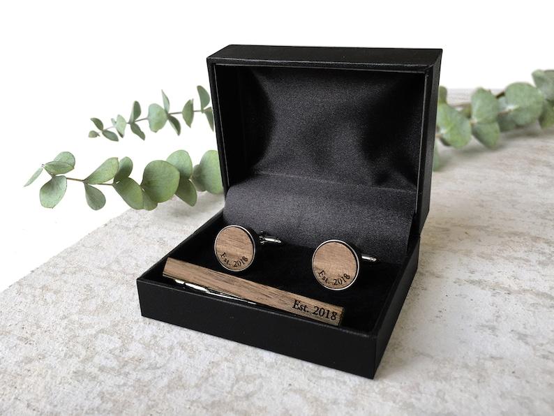Wood Anniversary Gift for Him  Monogram Cufflinks  5th Anniversary Gift Wood  Personalized initial cufflinks  Anniversary for Man