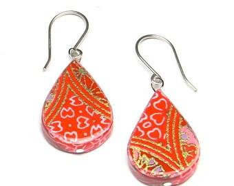 Cherry Paper Earrings // Japanese Origami Paper Earrings // Paper Anniversary Idea
