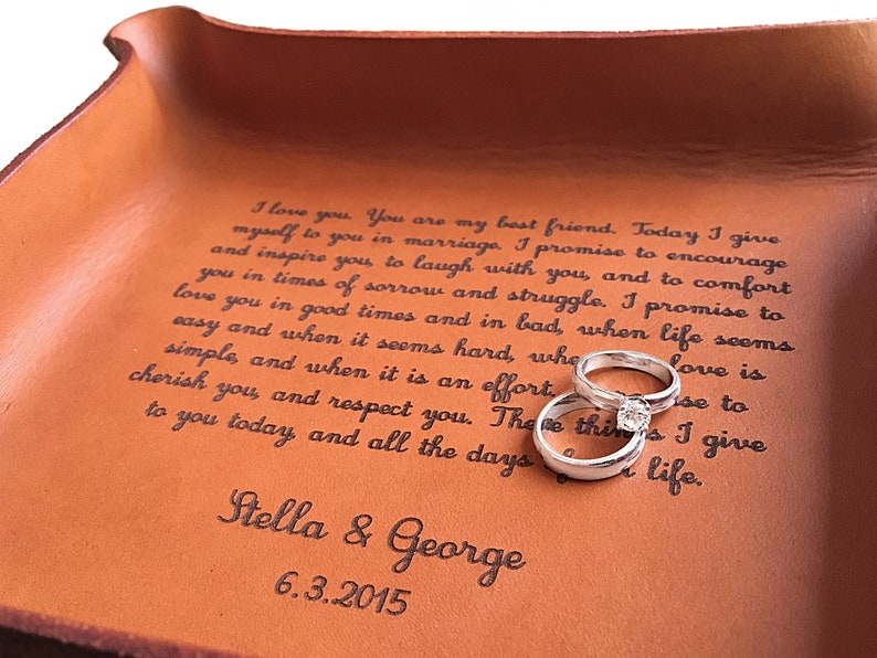 Wedding Vows Leather Tray Third Anniversary Gift Etsy