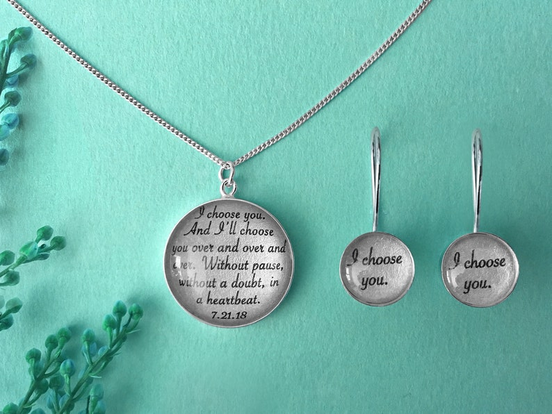 1st Year Anniversary Gift for Her / Personalized Jewelry with Earrings + Necklace
