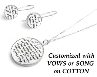 Cotton Anniversary Gift for Her / Personalized Jewelry with your Wedding Vows or Lyrics on COTTON / 2nd Anniversary Gift for Wife / Woman