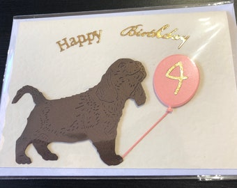 Handmade Cute Dog Themed Birthday Card 4th