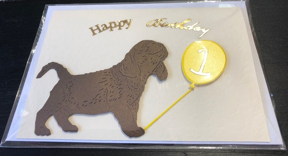 Handmade Cute Dog Themed Birthday Card 1st