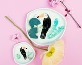 Olivia Toucan dishes - ring dishes with Toco Toucan in the jungle