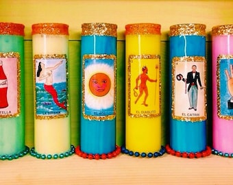 2 MAGICAL Lotería Prayer Candles + FREE SHIPPING!!!