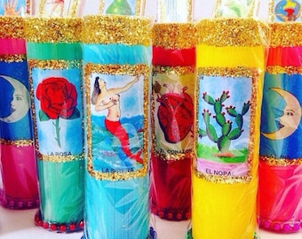 3 MAGICAL Lotería Prayer Candles + FREE SHIPPING!!!