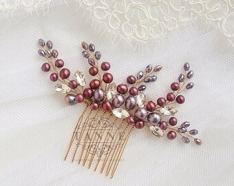 Purple Bridal Comb Burgundy and Gold Wedding Hair Accessories Marsala Comb Hair Vine Purple Wedding Comb Headpiece Beaded Amethyst Headpiece