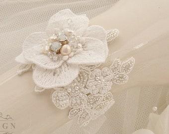 Bridal Lace Cuff Bracelet, Beaded Ivory Lace Wrist Corsage, Pearl Rhinestone Bracelet, Embroidered Bridal Jewelry, Wedding Cuff Bracelet