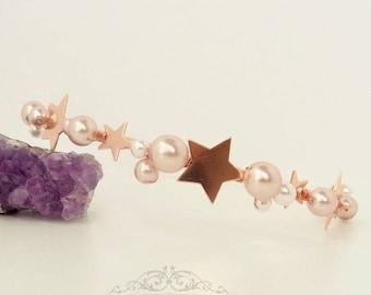 Star Rose Gold Crown Star Tiara Celestial Wedding Headpiece Star Headpiece Bridal Crown Hair Accessory Rose Gold Headband Moon Star Crown