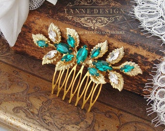 Bridal Leaf Hairpiece, Emerald Green Leaves Hair Piece, Small Gold Leaf Bridesmaid Hair Comb, Grecian Leaf Hair Piece, Wedding Hairpiece