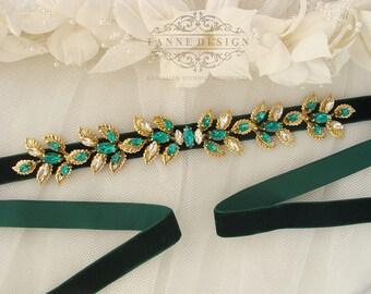 Leaf Bridal Sash Gold and Emerald Green Bridal Belt Laurel Leaf Wedding Sash Belt Crystal Beaded Sash Grecian Leaf Sash Belt Vintage Glamour