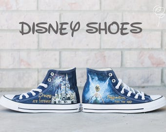 c101b8b93f44 Customizable Disney Hand Painted Converse Shoes - Tinkerbell - Cinderella s  Castle - Disneyland - Disneyworld - Magic-Imagination Has No Age