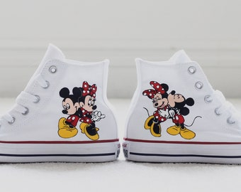283e51bf3b Customizable Disney Mickey Mouse and Minnie Mouse Hand Painted Converse High  Top White Shoes